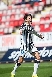 Dunfermline&rsquo;s Faissal El Bahktaoui cele scoring their second goal. <br /> Half time : Dunfermline 4 v 0 Cowdenbeath, SPFL Ladbrokes League Division One game played 15/8/2015 at East End Park.
