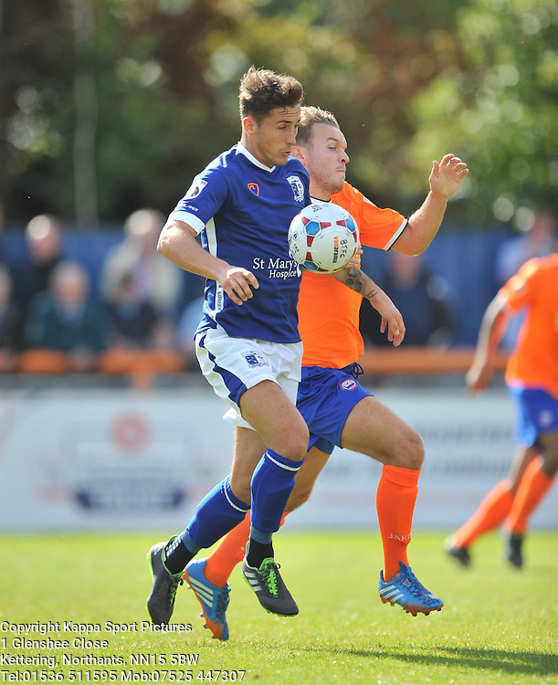 Barrows Patrick Lacey, battles with Braintrees Defence, Braintree Town v Barrow AFC, Avanti Stadium Braintree, Vanarama National League, Saturday, 12th September 2015 Braintree Town v Barrow AFC Saturday, 12th September 2015