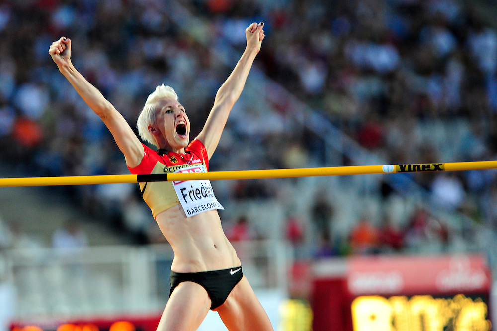 Germany's Ariane Friedrich reacts as she competes in the women's high jump final at the 2010 European Athletics Championships at the Olympic Stadium in Barcelona on August 1, 2010.