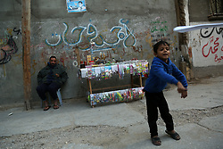 January 2, 2018 - Gaza, Palestinian Territories, Palestine - A Palestinian child play outside his family house in the streets of al-Shati refugee camp in the northern Gaza City,on January 2, 2018. (Credit Image: © Majdi Fathi/NurPhoto via ZUMA Press)