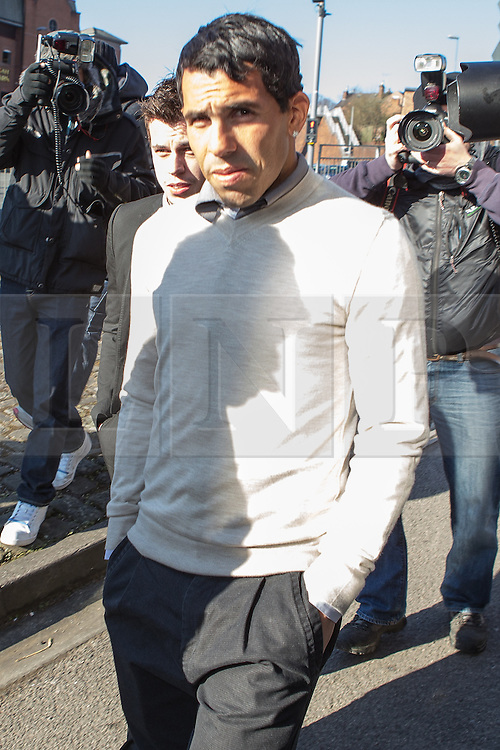 © Licensed to London News Pictures . 03/04/2013 . Macclesfield , UK . Manchester City footballer , CARLOS TEVEZ , arrives at Macclesfield Magistrates Court today (3rd April) . He is charged with breaching a driving ban after being arrested on 8th March 2013 on the A538 in Macclesfield . Photo credit : Joel Goodman/LNP