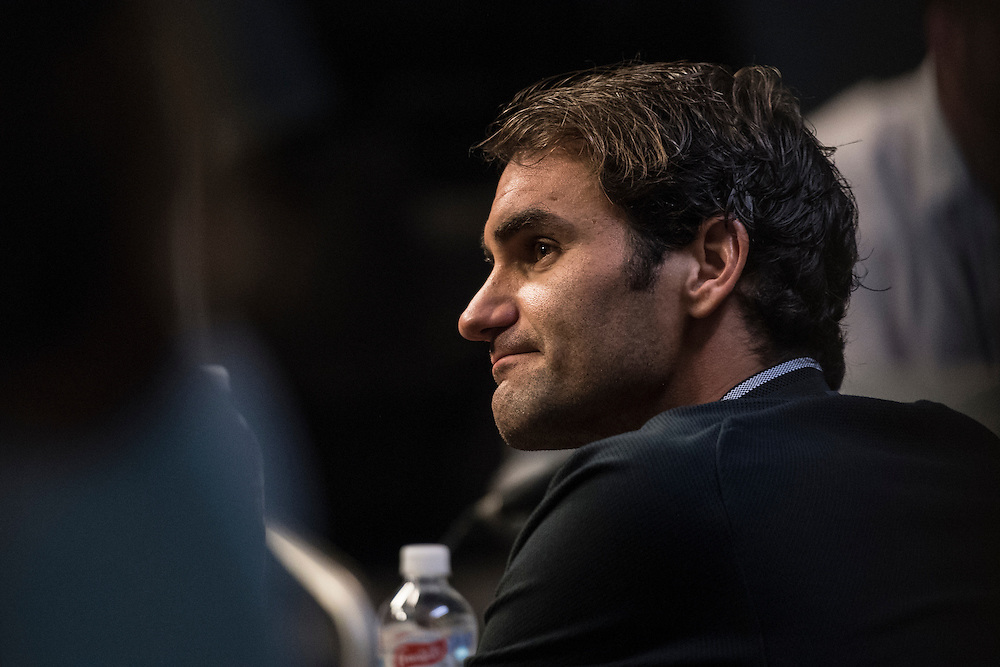 Roger Federer of Switzerland during his pre-tournament press conference ahead of the 2017 Australian Open at Melbourne Park on January 14, 2017 in Melbourne, Australia.<br /> (Ben Solomon/Tennis Australia)
