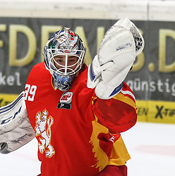28.11.2014, Curt Frenzel Stadion, Augsburg, GER, DEL, Augsburger Panther vs Duesseldorfer EG, 21. Runde, im Bild Tyler Beskorowany (Torwart DEG) hat die Scheibe in der Fanghand // during Germans DEL Icehockey League 21th round match between Augsburger Panther and Duesseldorfer EG at the Curt Frenzel Stadion in Augsburg, Germany on 2014/11/28. EXPA Pictures © 2014, PhotoCredit: EXPA/ Eibner-Pressefoto/ Krieger<br /> <br /> *****ATTENTION - OUT of GER*****
