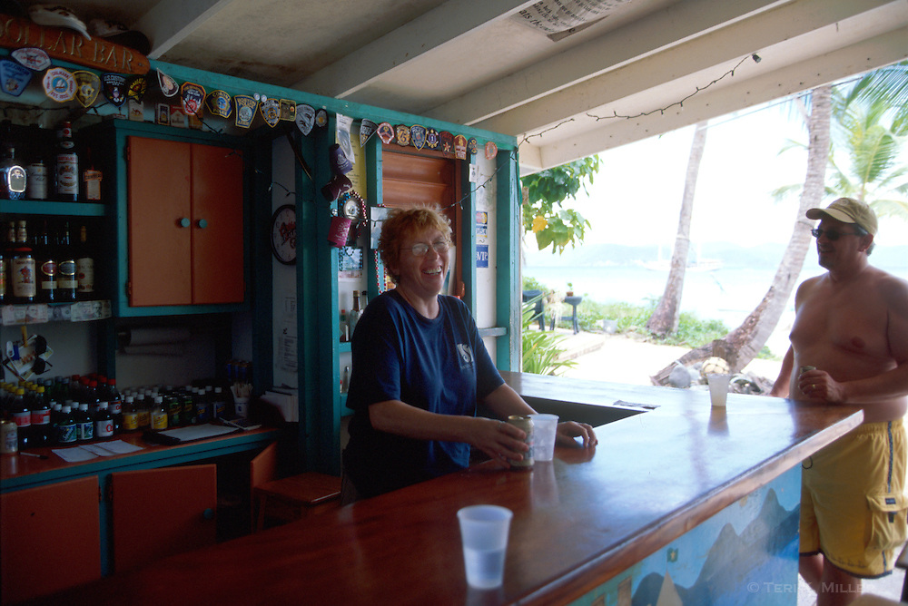 Claire, bartending at the Soggy Dollar Bar at Sandcastle Resort, Jost Van Dyke, British Virgin Islands.