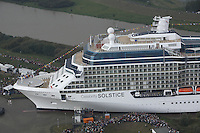 Celebrity Solstice, the most widely heralded ship to enter the cruise industry this year, sets sail from Papenburg Germany, where she was built.  This is the first of 5 Solstice class ships Celebrity Cruises will launch between now and 2012 and the first cruise ship with an authentic grass lawn on its top deck.....
