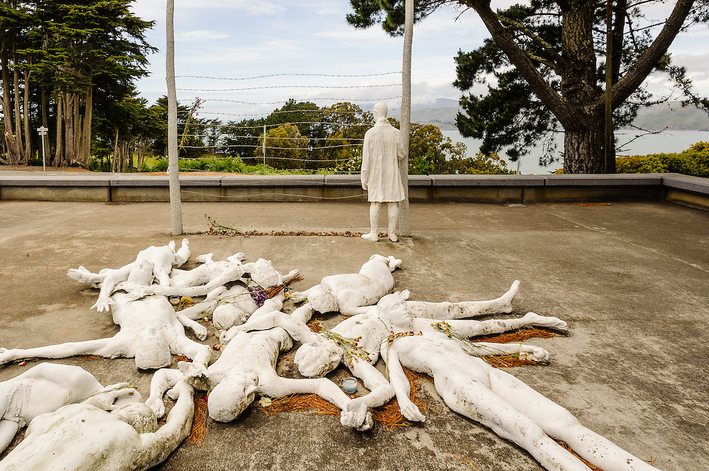 """California, George Segal's public sculpture, """"The Holocaust,"""" Lincoln Park  in San Francisco overlooking  Pacific Ocean"""