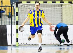 Luka Zvizej of RK Celje PL reacts during handball match between RK Celje Pivovarna Lasko and RK Gorenje Velenje in Eighth Final Round of Slovenian Cup 2015/16, on December 10, 2015 in Arena Zlatorog, Celje, Slovenia. Photo by Vid Ponikvar / Sportida