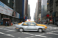 Cars in motion, blurred, New York