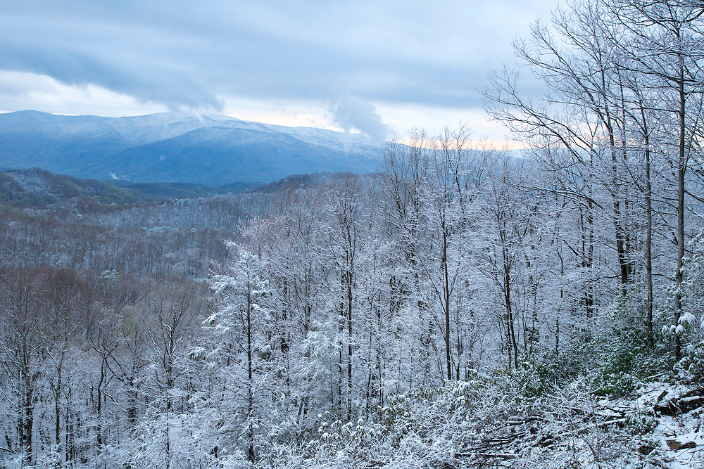 Snowy Sunset in the Smokies <br /> <br /> Available sizes:<br /> 18&quot; x 12&quot; print or canvas print<br /> <br /> See Pricing page for more information Also available as a mousepad or greeting cards.
