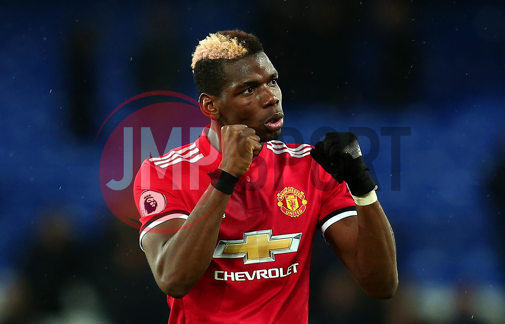 Paul Pogba of Manchester United celebrates his side's win over Everton - Mandatory by-line: Robbie Stephenson/JMP - 01/01/2018 - FOOTBALL - Goodison Park - Liverpool, England - Everton v Manchester United - Premier League