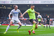 Billy Sharp of Sheffield United (10) and Luke Ayling of Leeds United (2) in action during the EFL Sky Bet Championship match between Leeds United and Sheffield United at Elland Road, Leeds, England on 16 March 2019.