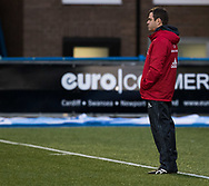 Munster's Head Coach Johann van Graan during the pre match warm up<br /> <br /> Photographer Simon King/Replay Images<br /> <br /> Guinness PRO14 Round 15 - Cardiff Blues v Munster - Saturday 17th February 2018 - Cardiff Arms Park - Cardiff<br /> <br /> World Copyright &copy; Replay Images . All rights reserved. info@replayimages.co.uk - http://replayimages.co.uk