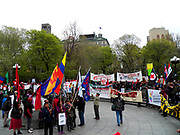 Hundreds of New Yorkers attended the Mayday Rally and March today in New York city which began in Union Square with a rally then march to Washington Square Park were a second rally was held before the group took to the streets once again for workers right and liberation. Credit Mark Apollo/Hashtag Occupy Media
