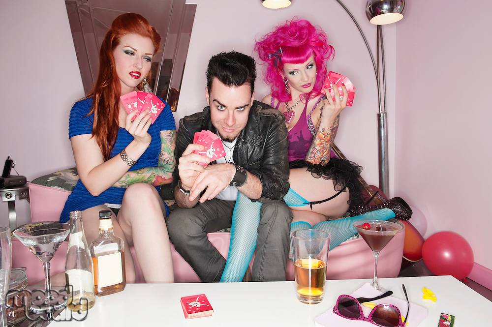 Funky people playing cards