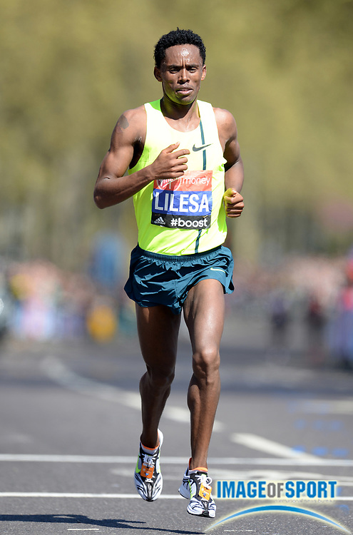 Apr 13, 2014, London, United Kingdom; Feyisa Lilesa (ETH) places ninth in the 2014 Virgin Money London Marathon in 2:08:26. Photo by Jiro Mochizuki