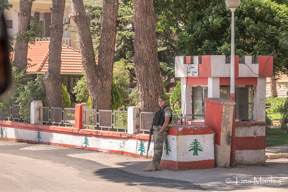 Lebanon army guard at checkpoint in Bakaa Valley.