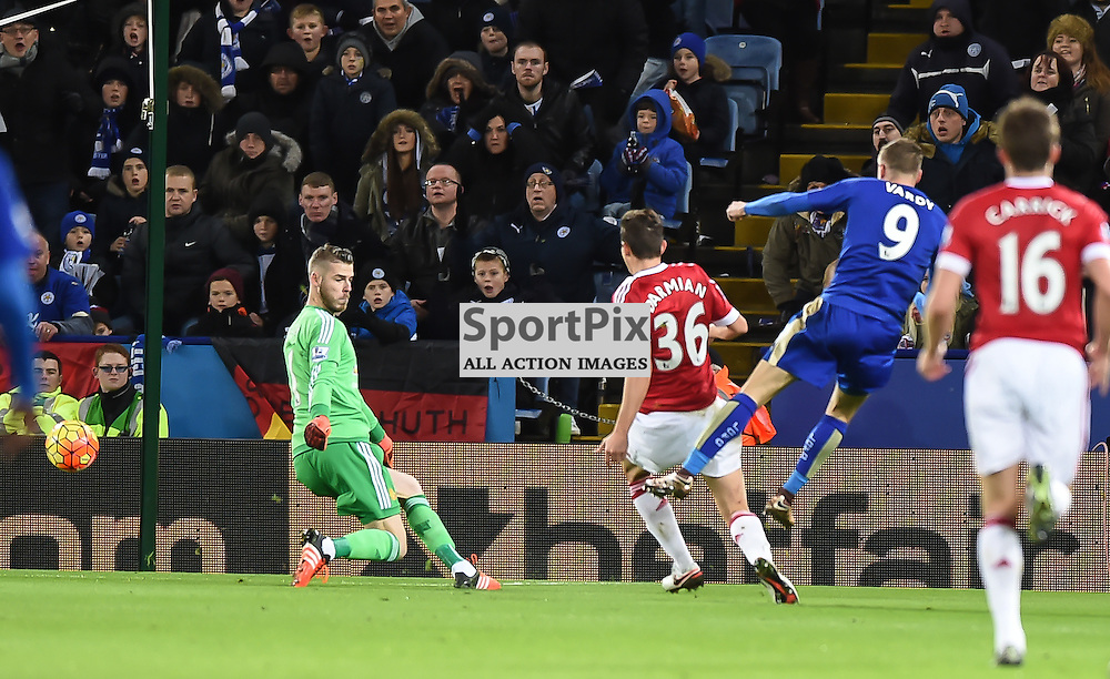 jamie Vardy scores a record breaking 11th goal in successive premier league matches (c) Simon Kimber | SportPix.org.uk