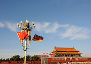 BEIJING, CHINA - OCTOBER 28: (CHINA OUT) <br /> <br />  German Flags Decorate On Tiananmen Square To Welcome Angela Merkel<br /> <br /> National flags of China and Germany are seen hung on the lampposts on the Tian'anmen Square to welcome German Chancellor Angela Merkel on October 28, 2015 in Beijing, China. German Chancellor Angela Merkel would make an official visit to China from Thursday to Friday. <br /> ©Exclusivepix Media