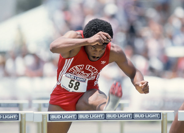 SAN JOSE, CA -  MAY 28:  Roger Kingdom of the USA competes in the 110 meter hurdles event of the 1988 Bruce Jenner Track Meet held on May 28, 1988 at San Jose City College in San Jose, California. (Photo by David Madison/Getty Images) *** Local Caption *** Roger Kingdom
