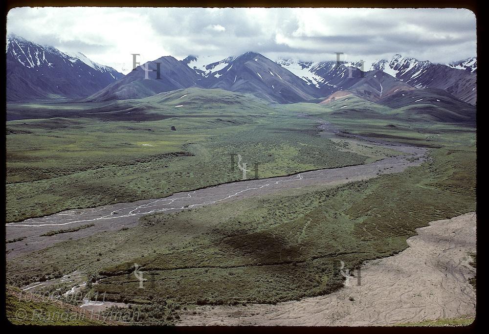 Tributary of Toklat River flows from multi-hued volcanic slopes at base of Alaska Range; Denali National Park, Alaska