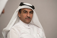 08 APR 2013, DOHA/QATAR<br /> Dr. Khalid Klefeekh Al Hajri, Chairman and Chief Executive Officer of QSTec, Qatar Solar Technologies, waehrend einem Gespraech mit Journalisten, W Hotel<br /> IMAGE: 20130408-01-027<br /> KEYWORDS: Katar