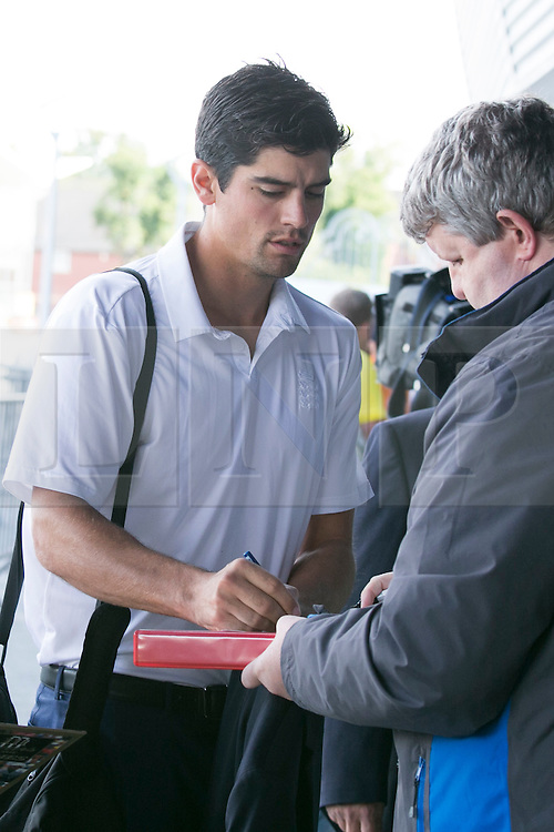 © Licensed to London News Pictures. 29_07_2015. Pictured, England captain ALASTAIR COOK arriving at Edgbaston. Cricket fans arriving at Edgbaston cricket  ground for the start of the third test against Australia. Photo credit : Dave Warren/LNP
