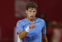 May 3, 2018 - Estoril, Estoril, Portugal - Pablo Carreno Busta celebrates the victory during the match between Pablo Carreno Busta from Spain and Nicolas Kicker from Argentina for Millennium Estoril Open 2018 at Clube de Tenis do Estoril on May 03, 2018 in Estoril, Portugal. (Credit Image: © Dpi/NurPhoto via ZUMA Press)