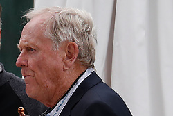 June 12, 2019 - Pebble Beach, CA, U.S. - PEBBLE BEACH, CA - JUNE 12: Golf legend Jack Nicklaus eats lunch on a back patio of a house on the 18th hole during a practice round for the 2019 US Open on June 12, 2019, at Pebble Beach Golf Links in Pebble Beach, CA. (Photo by Brian Spurlock/Icon Sportswire) (Credit Image: © Brian Spurlock/Icon SMI via ZUMA Press)