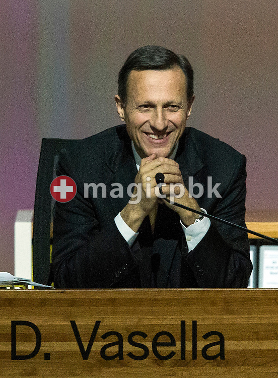 Daniel Vasella, Chairman of the Board, of Swiss pharmaceutical group Novartis, is pictured during the general assembly at the St. Jakobshalle in Basel, Switzerland, Friday, February 22, 2013. (Photo by Patrick B. Kraemer / MAGICPBK)