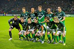14.09.2010, Weserstadion, Bremen, GER, UEFA CL Gruppe A, Werder Bremen (GER) vs Tottenham Hotspur (UK), im Bild Brenmer Startelf Keeper Tim Wiese ( Werder #01) Clemens Fritz ( Werder #08) Petri Pasanen ( Werder #03 ) Torsten Frings ( Werder #22 ) bre44 Marko Marin ( Werder #10 ) hinten Marko Arnautovic (Werder #07 ) Mikael SILVESTRE ( Werder #16 ) Sebastian Prödl / Proedl ( Werder #15) Wesley (Bremen #5)  Hugo Almeida ( Werder #23 )  EXPA Pictures © 2010, PhotoCredit: EXPA/ nph/  Kokenge+++++ ATTENTION - OUT OF GER +++++