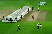 The hover cover comes on as play ends due to bad light during the International Test Match 2019 match between England and Australia at Edgbaston, Birmingham, United Kingdom on 3 August 2019.