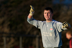 LIVERPOOL, ENGLAND - Tuesday, January 11, 2011: Liverpool's substitute goalkeeper James Stephens in action on his debut against Sunderland during the FA Premiership Reserves League (Northern Division) match at the Kirkby Academy. (Pic by: David Rawcliffe/Propaganda)