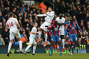 Liverpool midfielder Emre Can (23) climbs highest during the Barclays Premier League match between Crystal Palace and Liverpool at Selhurst Park, London, England on 6 March 2016. Photo by Simon Davies.