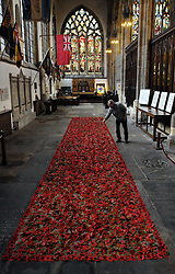 (c) Licensed to London News Pictures 09/11/2012.Artist Martin Waters working on his memorial poppy art installation 'Trench' at Holy Trinity Church, Hull.  It uses  8500 poppies from last years installation 'Poppy Drift' more will be added by visitors to the church over the Remembrance period.  Other artwork remembering modern conflicts is also on display..Photo credit : Sam Atkins/LNP