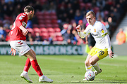 Hull City forward Jarrod Bowen (20) in action during the EFL Sky Bet Championship match between Middlesbrough and Hull City at the Riverside Stadium, Middlesbrough, England on 13 April 2019.