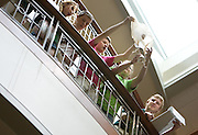 Students line up at the railing of the fourth floor of the Baker Center to compete in an egg-drop contest during the Russ College of Engineering and Technology research fair/engineering day in the Baker Center ballroom on Thursday, 5/3/07.