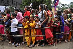 August 14, 2017 - Kathmandu, Nepal - Nepalese Kids impersonate as Lord Krishna lining to offering ritual prayer during Krishna Janmashtami Festival celebrated at ISKON Nepal, Budhanilkantha, Kathmandu, Nepal on Monday, August 14, 2017. Krishna Janmashtami festival marks the birthday of Hindu God Krishna, the eight incarnation of Lord Vishnu. (Credit Image: © Narayan Maharjan/NurPhoto via ZUMA Press)