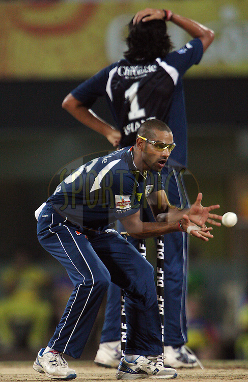 Shikhar Dhawan during match 39 of the Indian Premier League ( IPL ) Season 4 between the Chennai Superkings and The Deccan Chargers held at the MA Chidambaram Stadium in Chennai, Tamil Nadu, India on the 1st May 2011..Photo by Jacques Rossouw/BCCI/SPORTZPICS .