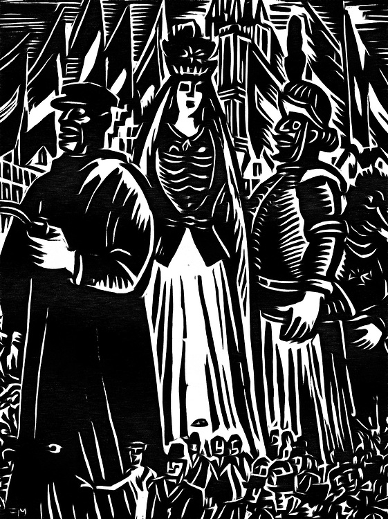 A black / white drawing of giants in a procession