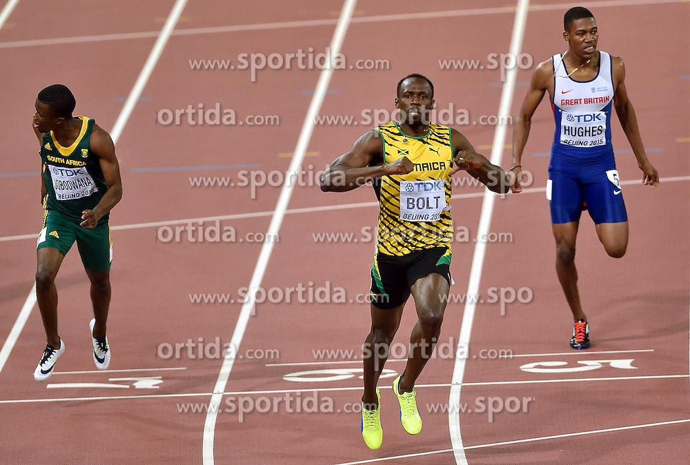 27-08-2015 CHN: IAAF World Championships Athletics day 6, Beijing<br /> 200m: Zharnel Hughes GBR (R),  Usain Bolt JAM, Anaso Jobodwana RSA. Usain Bolt won with time 19.55s