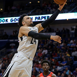 Apr 4, 2018; New Orleans, LA, USA; Memphis Grizzlies forward Dillon Brooks (24) shoots against the New Orleans Pelicans during the second quarter at the Smoothie King Center. Mandatory Credit: Derick E. Hingle-USA TODAY Sports