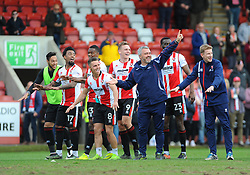 Cheltenham Town assistant manager Russell Milton celebrates with players after the final whistle - Mandatory by-line: Nizaam Jones/JMP- 01/04/2017 - FOOTBALL - LCI Rail Stadium - Cheltenham, England - Cheltenham Town v Morecambe - Sky Bet League Two