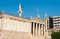 Athens, Greece. The Academy of Athens. Main building completed in 1885.