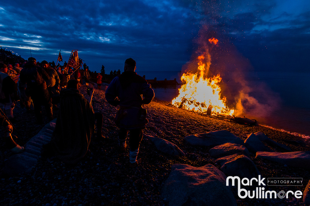 SHeringham, Norfolk. the North Norfolk coastal town of Sheringham which hosts it annual Viking festival with re-enactments and finishes with a ceremonial boat burning on the beach at dusk to mark the historical link with Vikings. <br /> <br /> Picture: MARK BULLIMORE PHOTOGRAPHY