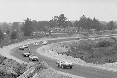 Arnolt Bristol chases group at Thompson, CT, 1957; Photo by Ozzie Lyons