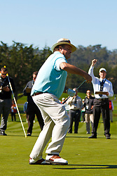 Feb 8, 2012; Pebble Beach CA, USA; Television commentator Chris Berman celebrates after making a putt to win the second hole during the celebrity challenge of the AT&T Pebble Beach Pro-Am at Pebble Beach Golf Links. Mandatory Credit: Jason O. Watson-US PRESSWIRE