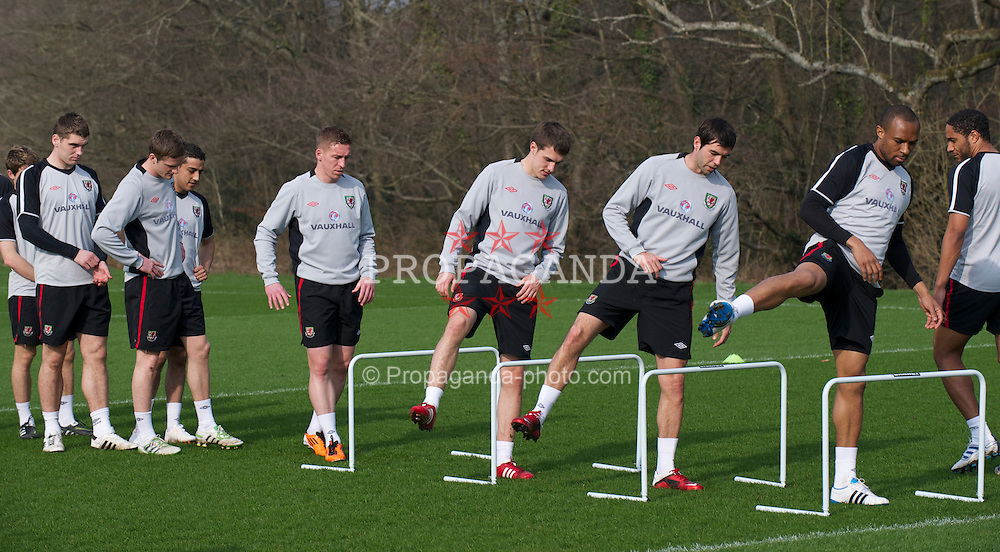 CARDIFF, WALES - Thursday, March 24, 2011: Wales' new captain Aaron Ramsey, Joe Ledley and Daniel Gabbidon during a training session at the Vale of Glamorgan ahead of the UEFA Euro 2012 qualifying Group G match against England. (Photo by David Rawcliffe/Propaganda)