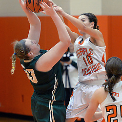 Staff photos by Tom Kelly IV<br /> Marple Newtown's Rylee Power (10) blocks a shot from Shanahan's Devon Adams (33) during the Bishop Shanahan at Marple Newtown girls basketball game, during the 7th annual holiday tournament on Saturday, December 27, 2014.