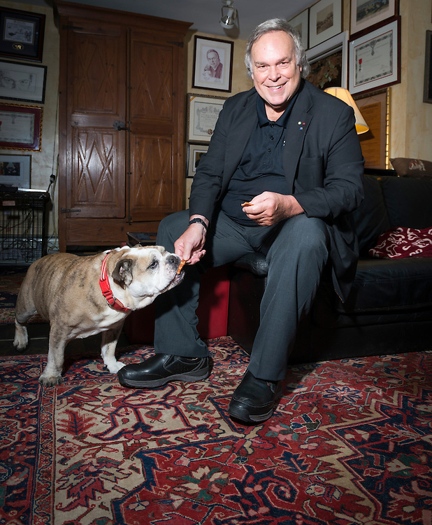 July 12, 2016 - Wine critic and founder of the Wine Spectator Robert Parker at home in his wine cellar and with his English bulldog.