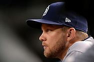 PHOENIX, AZ - APRIL 27:  Andy Green #14 of the San Diego Padres looks on from the dugout in the MLB game against the Arizona Diamondbacks at Chase Field on April 27, 2017 in Phoenix, Arizona.  (Photo by Jennifer Stewart/Getty Images)
